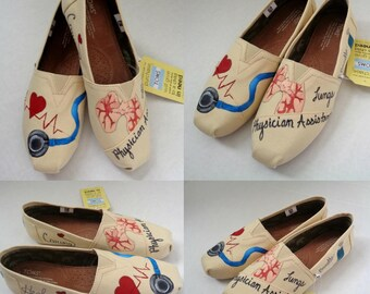 Physician Assistant TOMS Women's Custom Therapist TOMs Painted Dr Healthcare  Shoes Radiology Tech toms Registered nurses custom Respiratory