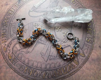 Orange and Blue Byzantine Bracelet