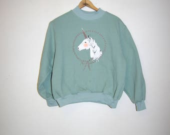 80's UNICORN PORTRAIT mock turtleneck mint green sweatshirt