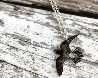 Peregrine Falcon Necklace, Falcon, Bird of Prey, Hawk, Falcon Pendant, Falcon Charm