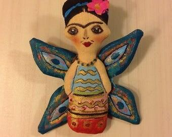 Frida brooch Art brooch Frida Kahlo brooch butterfly fabric brooch stylish brooch  Art doll Frida mexican art hand painted brooch textile