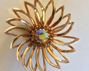 Vintage Sarah Coventry Aurora Borealis Rhinestone Flower Brooch. Sarah Cov. Gold Aurora Borealis Rhinestone Flower Pin