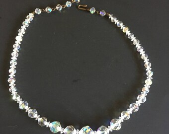 Vintage Aurora Borealis Faceted Bead Necklace, Single Strand Necklace