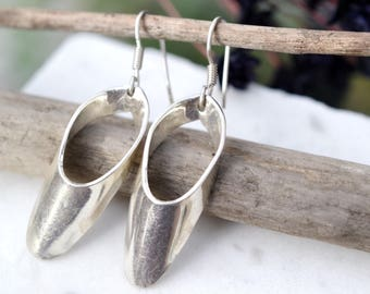 Sterling Silver Abstract Dangle Tube Earrings, Abstract Sterling Earrings, Modernist Sterling Silver Earrings, Modernist Dangle Earrings