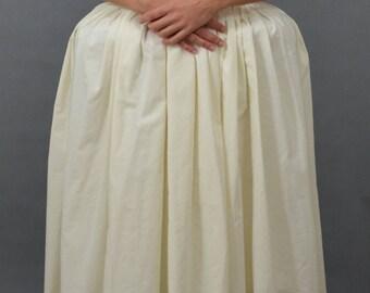 Cotton underskirt. Petticoat. Skirt 1700. Baroque Underskirt. Sottognna Bianca