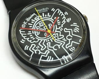 Rare Vintage Keith Haring Swatch Watch Blanc Sur Noir GZ104 1985 Black White Time Flying Clock Case