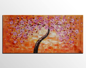 Flower Tree Painting, LARGE Painting, Wall Art Canvas Art, Original Art, Contemporary Artwork, Abstract Art, Knife Painting, Wall Hanging
