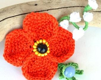 large poppy hair clip, statement poppy hair pin, red poppy clip, crochet poppy, red flower hairclip, large poppy fascinator, marmotescu