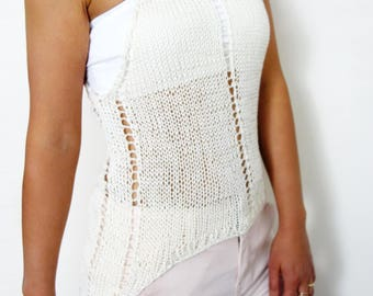 Top Knitting PATTERN - Laced Cropped Tank Top/ Asymmetrical Summer Cotton Vest/Longer Back Shorter Front Halter/ Bralette