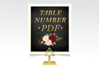 Table Numbers Signs PDF ONLY . Use this listing for any design in the store . Custom Color and Flexible Sizing . Unlimited Numbers