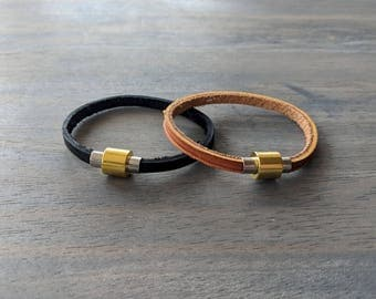 Glove Leather Bracelet- Gold & Silver Single