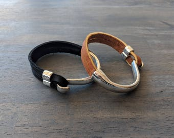 Glove Leather Bracelet- Double Half Cuff