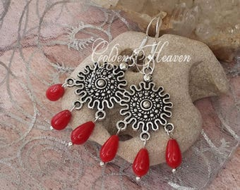 Natural Red Coral earrings Coral Earrings silver Coral chandelier earrings red chandelier earrings Antique style silver earrings jewelry