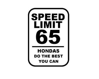 Honda speed limit decal