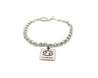 Cancer Charm Bracelet, Zodiac Bracelet, Astrology Bracelet, Silver Cancer Charm, Silver Chain Bracelet, Zodiac Charm Jewelry, Birthday Gift