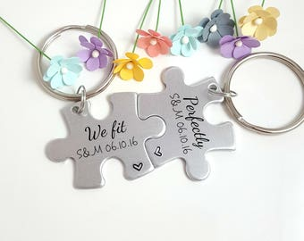 We Fit Perfectly, Couple Keychains, Personalized Keychains, Boyfriend Christmas Gift, Girlfriend Gift, Custom Keychain, 1 Year Anniversary