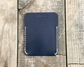 Personalised Navy Blue Minimalist Kangaroo Leather Wallet, The Annandale