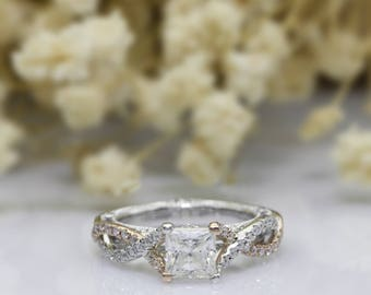 Antique Filigree Princess Cut 1.3ct Esdomera Moissanite 14k Two Tone Gold Accents Engagament Ring (CFR0241TT-MS1.3CT)