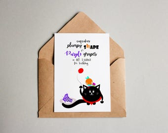 All I Want for Birthday card, cute cards, love you cards, handmade card, funny Birthday card, funny cards, cards for him, cards for her, cat