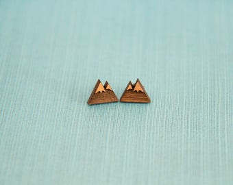 Wooden Mountain Earrings - Stud Earrings - Nature - Hiking - Outdoor Lover Gift - Lasercut - Wood Earrings