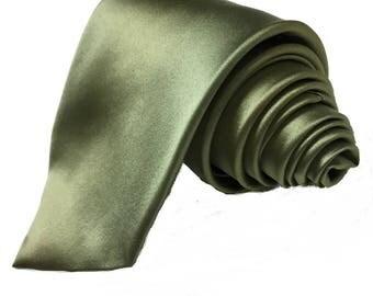 """Olive Green Tie Wide Regular Necktie 3.5"""" Width Satin Tie Groomsmen Neckties Matching Best Man Usher Groom Ties Groomsman Necktie Moss"""