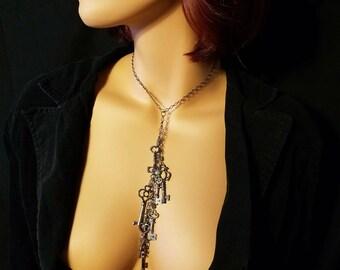 Skeleton Key Necklace Blue Stone Labradorite Steampunk Jewelry Goth Cascade Jewelry Goth Necklace Labradorite Key Charm Gift for Her Womens
