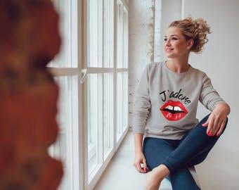 Jadore Sweatshirt, French Sweatshirt, Lips Sweatshirt, Cute Sweatshirt, Printed Sweatshirt, Graphic sweatshirt, Jadore shirt, Jadore tee