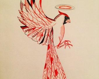 Cardinal soul pen and paper art photo print