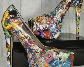 Superhero Comic Book Unique High Heel Shoes