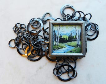 Hand Painted Acrylic Mountain, River, Birch Tree Silver Pendent Necklace - Wearable Art