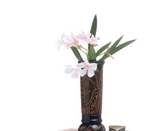 Wood vase decor, wooden vase decor, cylinder vase, flower vase pot, rustic wood vase, wood centerpiece vase