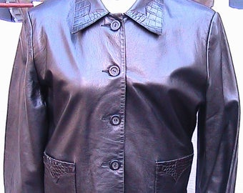 Size 10 Vintage SCULLY Short Black Leather Jacket