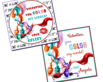 "Valentine's 2.5"" Printable Tags-You Color my world-Nail polish Tag- funny valentine DIY Personalized tags-Digital File"