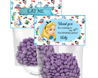 Alice in Wonderland Customized Printable Bag Toppers- D.I.Y Tags- Alice favor - candies bag toppers