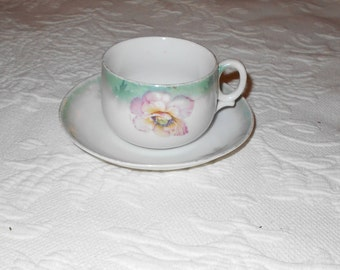 Unique Vintage Germany Porcelain Coffee Cup Tea Cup with Pink flower