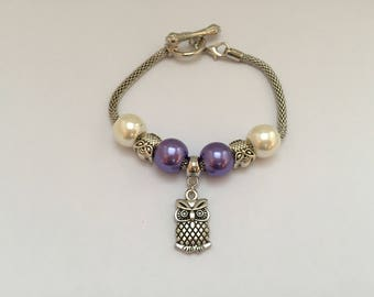 Bracelet charm's, purple and white, with 811 ref owls charm