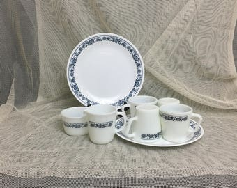 Milk Glass Pyrex Coffee Set | Olde Town Blue Onion | Four Mugs | Creamer Pitcher and Sugar Bowl | BONUS Two Matching Corelle Plates