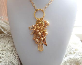 Gold Dragonfly Necklace Charm Cluster Golden Necklace Victorian Style Necklace