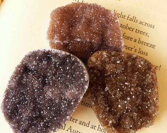 Amber Amethyst Druzy Medallions for Creativity and Inspiration, Cacoxenite Amethyst, Healing Crystals and Stones, Gemstones Witchcraft,Wicca