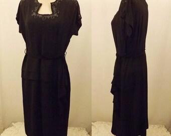 40's Vintage Black Evening Dress Embellished Bead Design Size 8