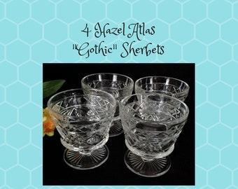 """4 Vintage Hazel Atlas """"Gothic"""" Sherbet Dessert Dishes Big Top Peanut Butter"""