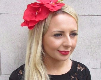 Large Red Orchid Flower Fascinator Headpiece Headband Hair Festival Silver 3305