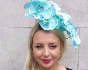 Large Mint Green Turquoise Orchid Flower Fascinator Headpiece Headband Hair 3322
