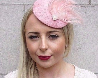 Blush Light Dusty Dusky Pink Feather Fascinator Pillbox Hat Hair Clip Races 3905