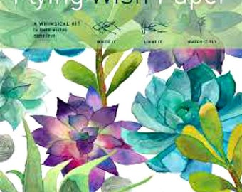 Flying Wish Paper - cactus garden design - package of 15 wishes, make a wish