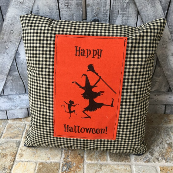Happy Halloween Pillow, Witch and Cat Halloween Pillow, Halloween Decoration, Fall Decor, Vintage Halloween, Halloween Decor,
