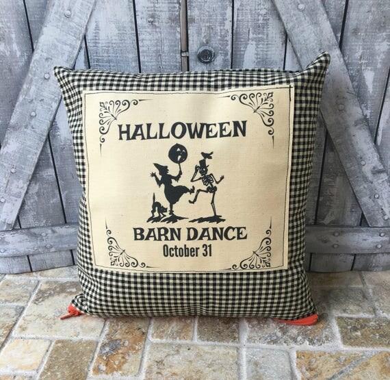 Halloween Pillow, Halloween Barn Dance,Dancing Witch,Dancing Skeleton, Halloween Decoration, Fall Decor, Halloween Decor,Primitive Halloween