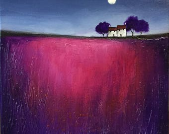 Moonlit houses original textured  acrylic painting ready to hang