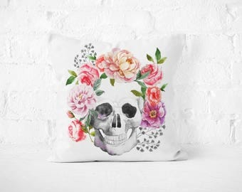 Skull with Flower PillowCase Skull Throw Pillow Cover Decorative PillowCase Floral Toss Pillow Silk Pillow Case Satin PillowCase Home Decor