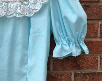 1970s Baby Blue Peasant Blouse